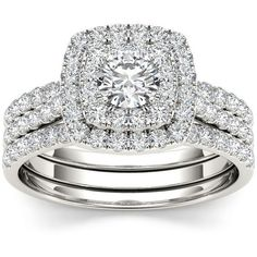De Couer 10k White Gold 1 1/2 ct TDW Diamond Halo Engagement Ring Set ($1,609) ❤ liked on Polyvore featuring jewelry, rings, silver, white gold wedding rings, pave band ring, round cut diamond engagement rings, wide-band rings and round engagement rings