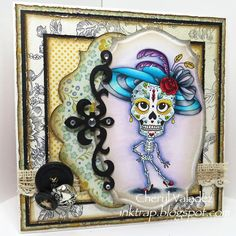 The Ink Trap: SCACD This and That Rubber Stamp Blog Hop!!!  A new release at Susana's Custom Art and Card Design...meet Mrs. Bones!  Colored with Copic markers.