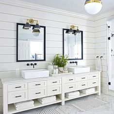 14 Most Wonderful White Bathroom Vanity Ideas To Inspire You There are many ways to change the bathroom at home so it feels comfortable and modern. One way is to rely on the bathroom vanity arrangement. Vanity has become … Black White Bathrooms, Modern White Bathroom, White Bathroom Decor, White Vanity Bathroom, Simple Bathroom, Bathroom Interior, Bathroom Ideas, Master Bathroom, Bathroom Designs