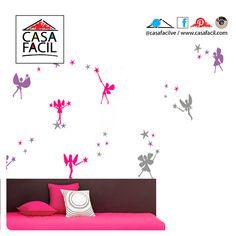 Si tu pequeña desea un cambio en su habitación puedes comenzar por las paredes, decóralas con nuestro vinil modelo Hadas, le fascinara!