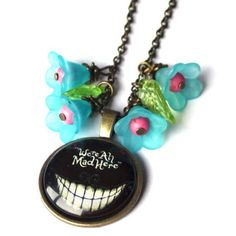 We are all mad here Alice in wonderland Necklace Alice fans Alice lovers Birthday Present Alice at the Rabbit Hole Alice in Wonderland  http://etsy.me/2DRxPNh  #jewelry #necklace #bronze #birthday #fantasyscifi #blue