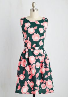 Botanist Conference Dress - Floral, Print, Casual, A-line, Sleeveless, Spring, Woven, Better, Mid-length, Green, Pink