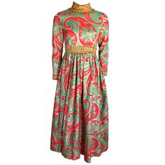 1stdibs - Vintage OSCAR DE LA RENTA 1970's metallic brocade paisley dress explore items from 1,700  global dealers at 1stdibs.com