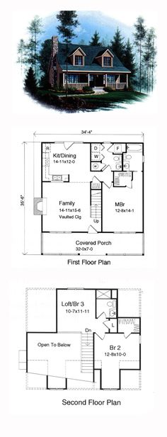 Cape Cod House Plan 49128 | Total Living Area: 1339 sq. ft., 2 bedrooms and 2.5 bathrooms. #capecodhome