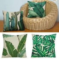 Wish | Home Decor Green Leaf Cushions Cover Sofa Soft Bolster Cover Cactus Leaves Print Linen Pillows Cover Fashion Home Bedroom Decoration Car Accessories