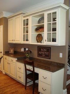 Replace china hutch with cabinets and built in desk. - Replace china hutch with cabinets and built in desk. Home Kitchens, Built In Cabinets, Kitchen Remodel, Kitchen Design, Kitchen Desk Areas, Kitchen Redo, Pantry Design, Kitchen Office, Kitchen Desks