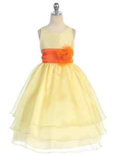 e601503804a Yellow 3 Layered Organza Pick Your Sash (Silver) Flower Girl Dress (Infants  to Girls Size Or the silver dress with a yellow sash