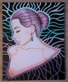 Kissie - 40 cm x 49 cm, colour pencils, fineliner, acrylic paints, earring  more: http://racislawavelrachia.blogspot.com/