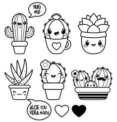 Informations About Kawaii clipart, succulent clipart, Valentine clipart, kawaii cactus clipart, kawa Cute Easy Drawings, Kawaii Drawings, Doodle Drawings, Disney Drawings, Pencil Drawings, Pencil Art, Hipster Drawings, Unique Drawings, Griffonnages Kawaii