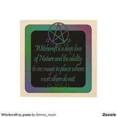 Witchcraft is, poem wood wall art
