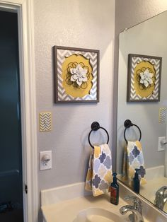 gray yellow bathroom