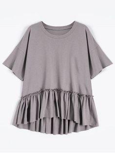 Short Sleeve Ruffle Hem T-Shirt - SMASHING ONE SIZE