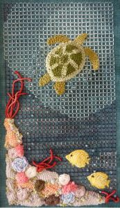 Tessa the Turtle loves to swim around the coral reef.  This fun Casalguidi-style embroidery design will leave you wanting more - good thing Tessa has a friend!