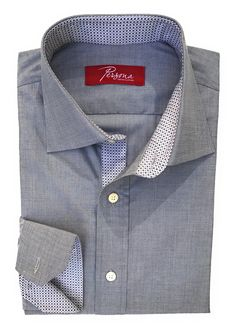Persona Premium Dress Shirt Grey chambre with burgandy dot and diamond accent