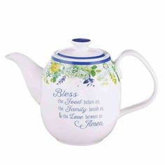 Buy Ceramic Teapot: Our Daily Bread, Blue/White/Floral (Matt (Our Daily Bread Collection) by Christian Art in Homeware format at Koorong Pink Pewter, Bless The Food, Our Daily Bread, Ceramic Teapots, Paris Eiffel Tower, Glass Cutting Board, Kitchen Collection, Before Us, Christian Art