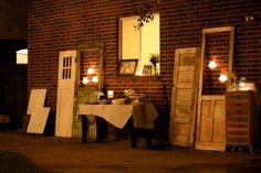 vintage wedding decor old windows | Loot Charms in Vintage Backyard Wedding