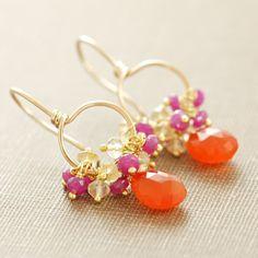 Fruit Punch, oranje roze Gemstone 14k Gold Hoop Earrings, Carneool Citrien Pink Sapphire Clusters, aubepine