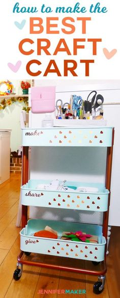Make the Best Craft Organizer Cart Ever with the IKEA RASKOG Cart + How to Paint and Decorate It! | Craft Room Organization | Ikea Hack