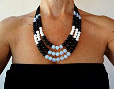 Multi strand beaded necklace Black and white necklace Chunky