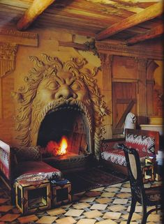 Bomarzo cast-Mogiardino-Elsa Peretti Tower ||| Photo by Fritz von der Schulenburg of the fireplace in Elsa Peretti's holiday retreat, La Torre, on the Tuscan coast. Designed by Milanese architect Renzo Mongiardino.