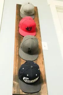 Hat Rack Ideas - Rather of throwing your hats in the corner of the coat closet, build yourself a hat rack to organize and show them nicely. Cap Rack, Coat And Hat Rack, Railroad Spikes, Modern Contemporary, Hanger, Display, Organizations, Hats, Diy