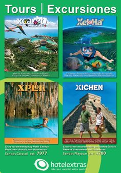 Here is a flyer and menu of the tours and excursions available at the Sandos Playacar Beach Resort & Spa.  These are at an additional charge and are not included in the all inclusive package.  These tours are also extra to those participating in the Sandos timeshare offers.