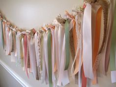 Soft Pink, Peach, Blush, Coral, Sage, Natural, Burlap, Lace, Ribbon Garland for a vintage wedding