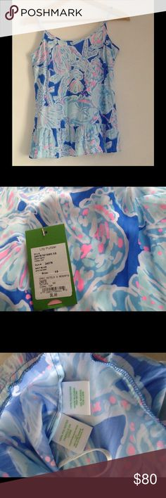 Lilly Pulitzer camisole, NWT Lilly Pulitzer, size xs, baby blue into the deep, coral top, NWT, beautiful top with adjustable straps Lilly Pulitzer Tops Camisoles