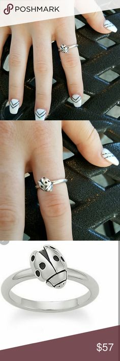 James Avery Stackable Ladybug ring Retired and Rare. Excellent condition. No wear. SIZE 7.5. 1, 2 and 4th pic is the actual ring for sale. 3rd pic is not. James Avery Jewelry Rings