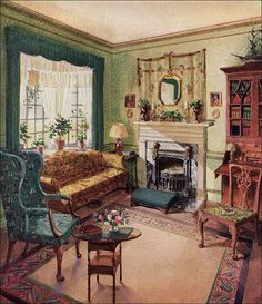 1929 Living Room   Karpen Furniture By American Vintage Home~bay Window  Drapery Idea Part 84