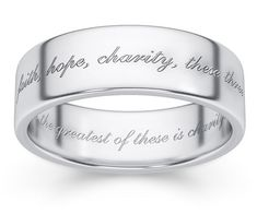 """Therefore shall a man leave his father and his mother, and shall cleave unto his wife: and they shall be one flesh"" (Genesis One Flesh Wedding Band Ring in White Gold Engraved Wedding Rings, Silver Wedding Bands, Womens Wedding Bands, Wedding Ring Bands, Wedding Ring Engraving Ideas, Gold Wedding, Silver Ring, Gold Ring, Wedding Jewelry"