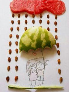Cute watermelon seeds rain
