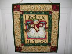 Snowman wall hanging whimsical snowmen door by ExpressionQuilts, $19.00