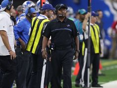 Detroit Lions head coach Jim Caldwell walks the sidelines