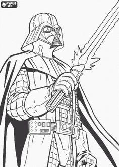 Colorear Darth Vader con su sable de luz