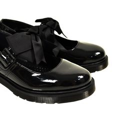 Ribbons. Dr Martens Mary Jane Shoes (Black)