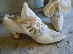 White silk victorian shoes with beadwork