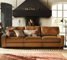 Turner Leather Sofa, Down Blend Wrapped Cushions, Saddle