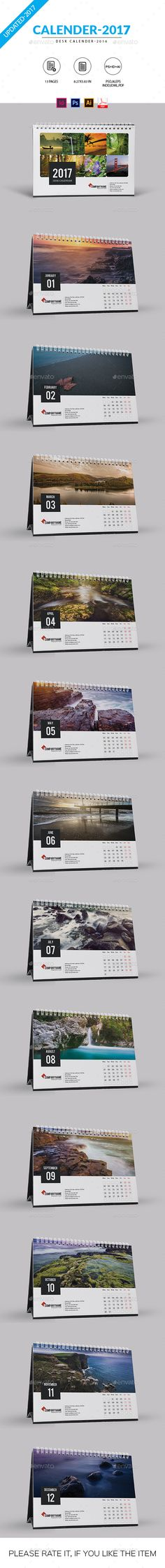 PSD Desk Calendar for 2017. All is layered,grouped and named.Easy to edit font,text,color,image and more.Smart object used,easily