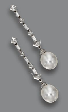 PAIR OF NATURAL PEARL AND DIAMOND PENDANT-EARRINGS, FRENCH.