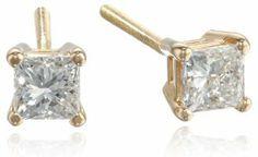 IGI-Certified 14k Gold Princess-Cut Diamond Studs (1/2 cttw, H-I Color, SI2-I1 Clarity)
