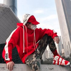 2018 New BF Oversize Hoodie Streetwear Hip Hop Red Black Double Hooded Hoody Mens Hoodies and Sweatshirts High Street T Shirt Streetwear, Style Streetwear, Streetwear Fashion, Streetwear Clothing, Designer Streetwear, Street Look, Men Street, Street Wear, Sneakers Mode