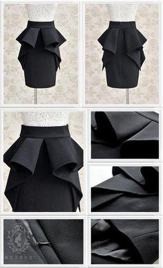 Ruffle Peplum Pencil Skirt - Dabuwawa | YESSTYLE