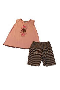 """Mis Tee V-Us PInk Pony Outfit includes tank top with horse head, horseshoes and flowers on the front and brown striped shorts. Quote on front of top """"Horses & Flowers""""  Made in the USA"""