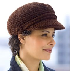 Visor Cap Crocheted Ladies Hat Pattern by Coats and Clark - FREE Crochet Pattern - Planet Purl. Love it, get lots of comments and it looks good with short hair Crochet Newsboy Hat, Crochet Adult Hat, Crochet Cap, Diy Crochet, Knitted Hats, Beginner Crochet, Crochet Stitch, Easy Crochet Hat Patterns, Afghan Patterns