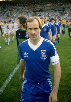 Mick Mills of Ipswich Town leads out his team before the UEFA Cup final against AZ 67 Alkmaar at the Olympic Stadium in Amsterdam, Holland. \ Mandatory Credit: Allsport UK /Allsport Get premium, high resolution news photos at Getty Images Pure Football, British Football, Retro Football, Adidas Football, Football Kits, Vintage Football, Ipswich Town Fc, Blue Army, Football Pictures