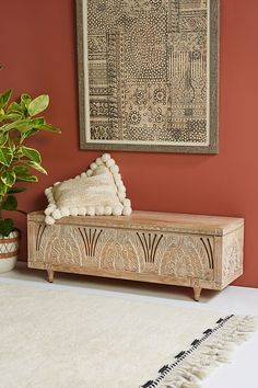 Featuring a stunningly handcarved facade of arched vines and botanicals, this tr. - Featuring a stunningly handcarved facade of arched vines and botanicals, this trunk doubles as both - Hanging Furniture, Unique Furniture, Foyer Furniture, Furniture Storage, Furniture Sets, Storage Trunk, Bench With Storage, Fashion Art, Girls Bedroom Storage