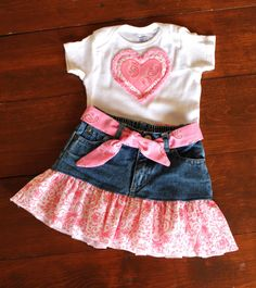 3 to 6 Month Denim Upcycled Skirt & Onesie With by MyLilBaby, $26.50 https://www.etsy.com/shop/MyLilBaby?ref=si_shop