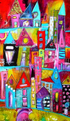 Colorful and bold Funky City Scape Acrylic Painting 24 x 36