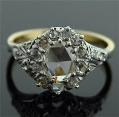 Antique Diamond Ring - 14k White and Yellow Gold with Rose Cut Diamond